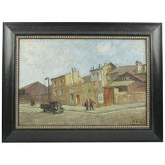 Italian Renzo Gori Oil on Canvas Painting Urban Street Scene, circa 1940s