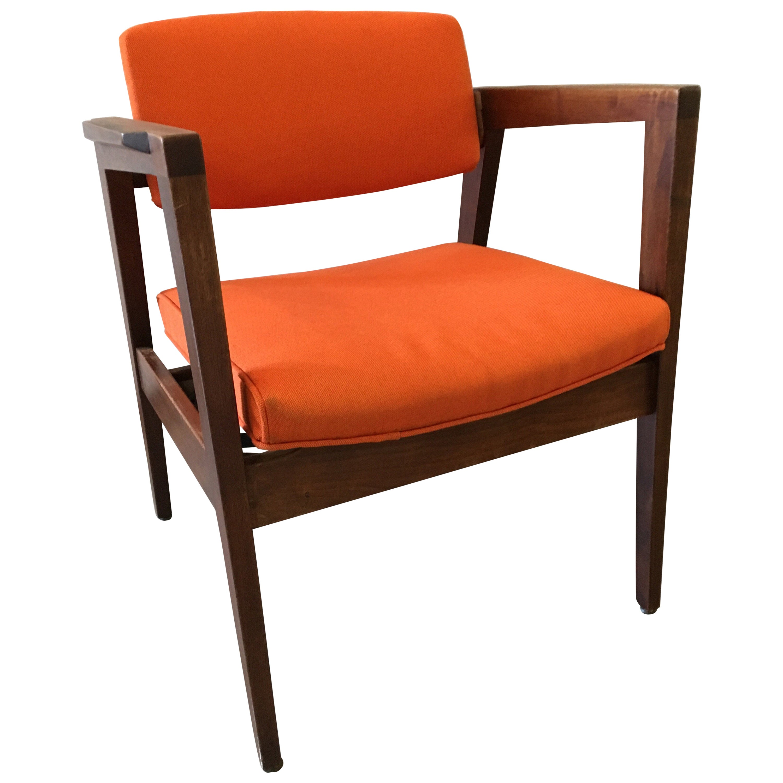 Mid-Century Modern Danish Style Orange Upholstered Lounge Chair