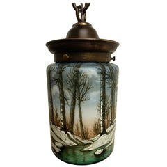American Arts & Crafts Enameled Glass Hanging Lantern