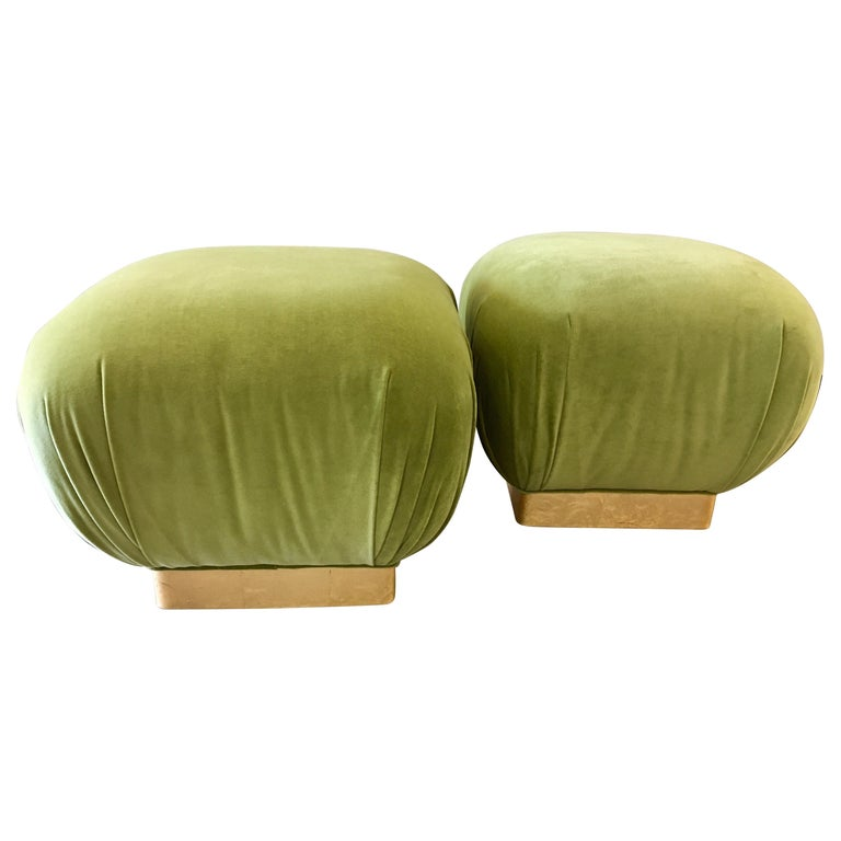 Pair of Matching Midcentury Poufs Stools Ottomans with Brass Band Base For Sale