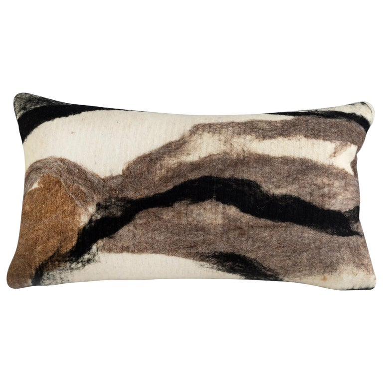 Modern Rustic Wool Pillow Hand-Milled - Heritage Sheep Collection For Sale