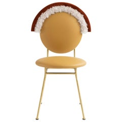 Contemporary Summer Iris Chair with Brass Finished Legs