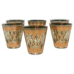 Set of 6 Vintage 22-Karat Gold Rocks Glasses with Moroccan Design