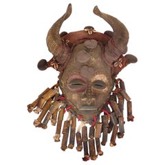 African Bamileke Tribal Mask from Cameroon with Horns