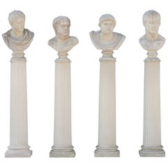 Four Grand Tour Style Romans Emperors Busts on Columns, 19th Century