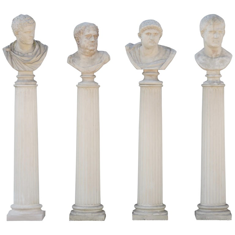 Four Grand Tour Style Romans Emperors Busts on Columns, 19th Century For Sale