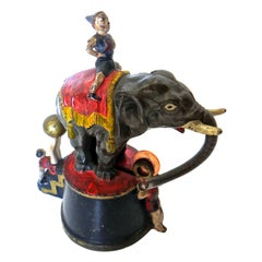 """Elephant and Three Clowns"" Mechanical Bank, American, circa 1883"