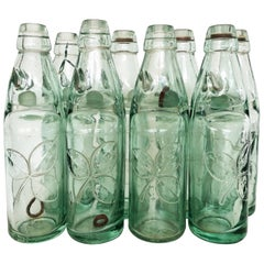 Antique 19th Century Mexican Codd Neck Glass Soda Bottles, Set of 6