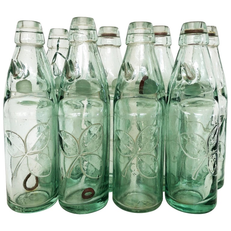 Antique 19th Century Mexican Codd Neck Glass Soda Bottles, Set of 6 For Sale