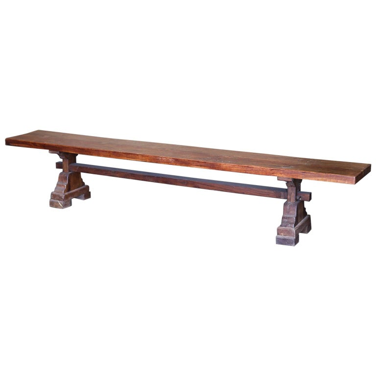 1920's Solid Teak Wood Handcrafted Dutch Colonial Farm Bench For Sale
