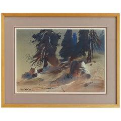 Robert E. Wood 1967 Watercolor, American California Artist