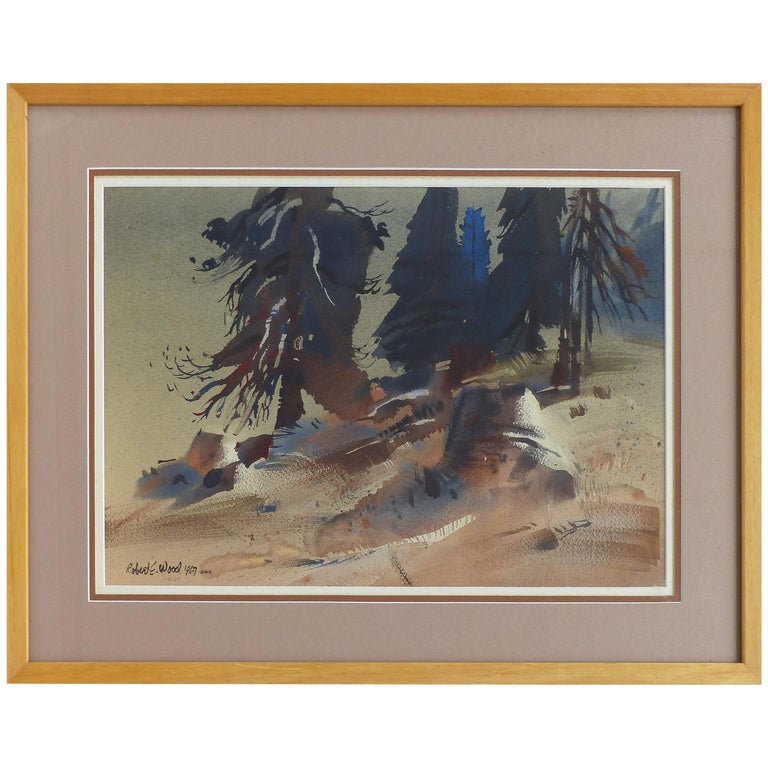 Robert E. Wood 1967 Watercolor, American California Artist  For Sale