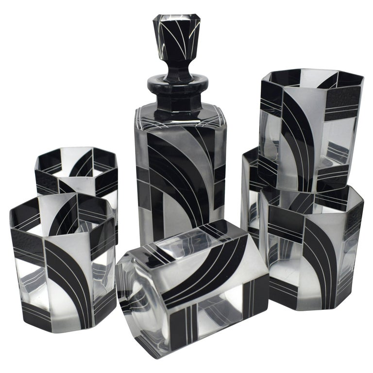Art Deco Czech Black and Clear Glass Whisky Decanter Set For Sale