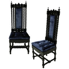 Pair of Solid Ebony Anglo-Indian Hall Chairs