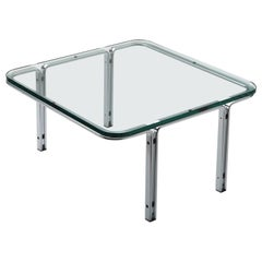 Midcentury Table in Cristal-Plate Glass and Chrome Steel by Horst Brüning