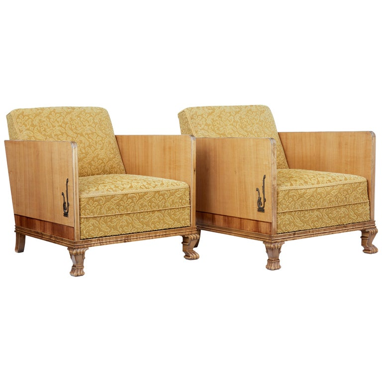 Pair of Late Art Deco Elm and Birch Club Armchairs For Sale