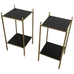 Maison Jansen, Pair of Brass Side Tables with Black Lacquered Glass Tops