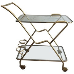Interesting Italian Design Brass and Engraved Glass Drinks Trolley, circa 1950