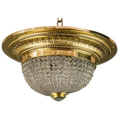 Art Deco Ceiling Lamp with Small Cut Glass Balls, circa 1920s