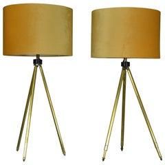 Near Pair of Midcentury Brass Telescopic Tripod Table Lamps