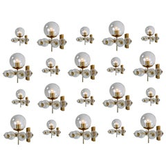 Large Set Midcentury Hotel Wall Chandeliers with Brass Fixture, European, 1970s