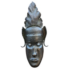 Heyndrickx, Art Deco Mask in Hammered and Patinated Bronze, Signed, Dated 1941