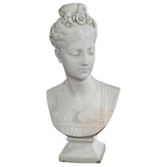 Mid-19th Century White Marble Bust of a Young Woman, R. Bulens