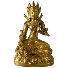 Chinese Gilt Bronze Figure of Green Tara, Late 17th Century