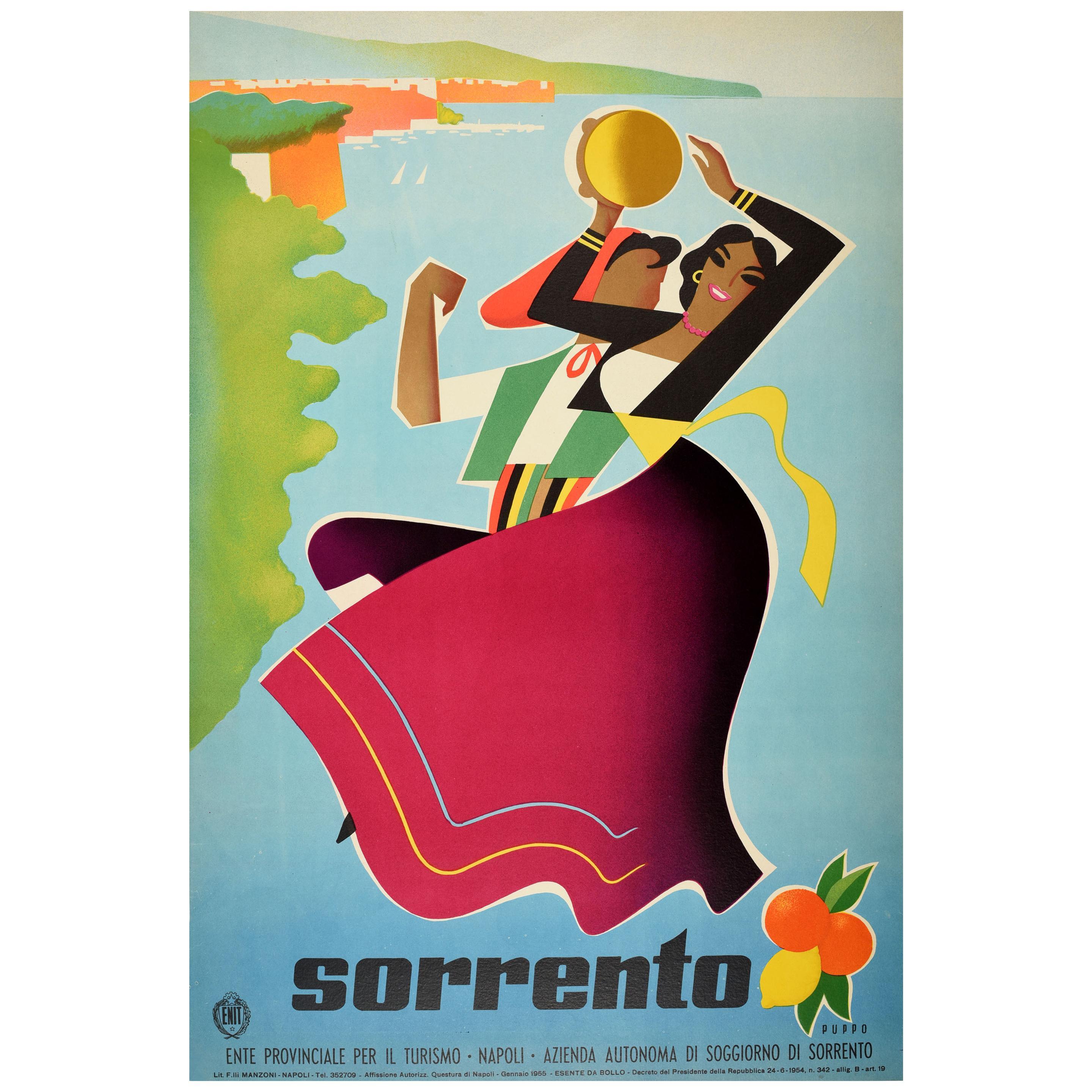 Original Vintage ENIT Travel Poster Sorrento Napoli Naples Mediterranean Italy