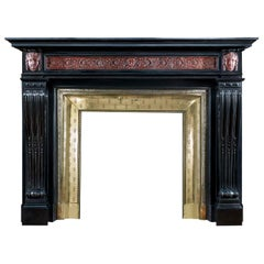 Large Belgian Black Marble Louis XVI Fireplace