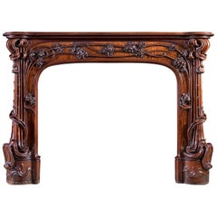 Walnut Art Nouveau Fireplace Attributed to Majorelle