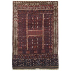 Hand Woven Antique Turkmen Hatchli Wool Rug, circa 1890