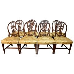 Very Fine Set of Eight Late 18th Century Hepplewhite Dining Chairs