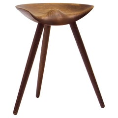 Midcentury Mogens Lassen Stool in Solid Teak Mounted on Three Tapering Legs