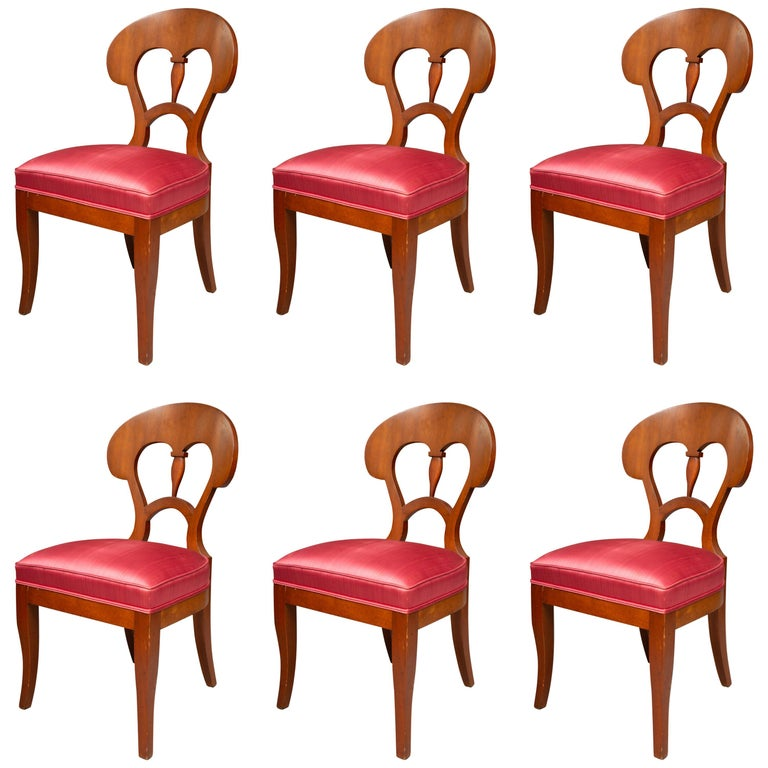 Set of Six Biedermeier Style Side Chairs For Sale