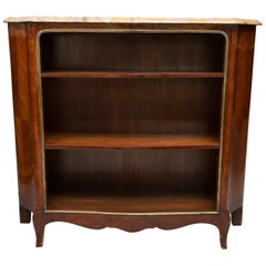 19th Century French Louis XV Style Kingwood Bookcase with Marble Top