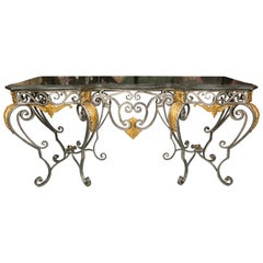 Monumental Iron Console with Gilt Decoration