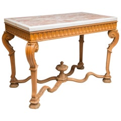 Italian Beechwood Console/Center Table with Marble Top