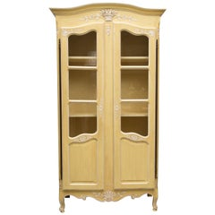 Yellow Painted French Louis XV Armoire