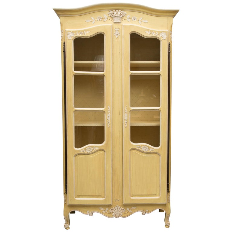 Yellow Painted French Louis XV Armoire For Sale