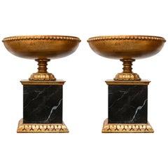 Italian Giltwood Tazza on Faux Marble Pedestal