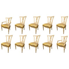 Set of 10 Cream and Parcel Gilt Dining Chairs
