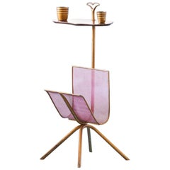 Italian Brass Side Table with Magazine Holder, 1950s