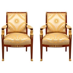 Pair of French Mid-19th Century Empire Style Mahogany and Ormolu Armchairs