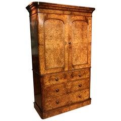 19th Century Victorian Burr Walnut Linen Press