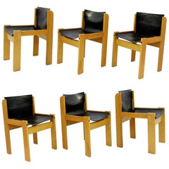 Set of Six Italian Leather Sling Chairs by Ibisco, 1970s