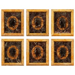 Set of Six Italian Neoclassical Style Bronze and Marble Wall Plaques