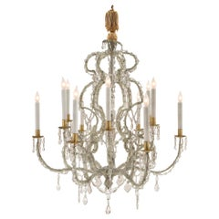Italian Early 19th Century Louis XV Style Iron, Gilt and Crystal Chandelier