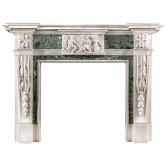 18th Century Georgian Statuary Marble Fireplace with Inlay, circa 1774