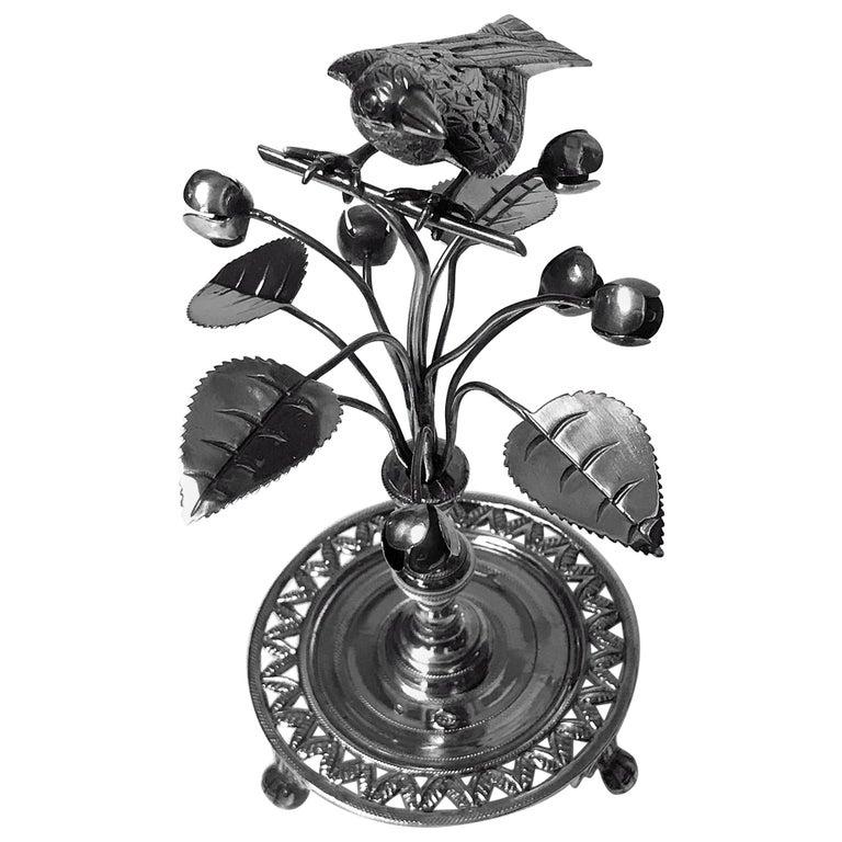 Antique Silver Toothpick Holder, Rio De Janeiro, Brazil, circa 1850
